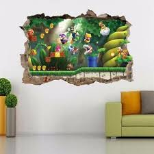 Super Mario Bros Scene Smashed Wall Decal Removable Wall Sticker Luigi H195 Ebay