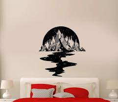 Wall Decal Night Sky Mountains Stars River Reflection Forest Trees Vin Wallstickers4you