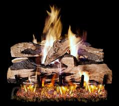 log sets for an outdoor gas fireplace