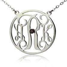 sterling silver circle initial monogram