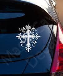 Cross Crown King Christian Decal Car Laptop Graphic Sticker Etsy Christian Decals Christian Car Decals Car Decals