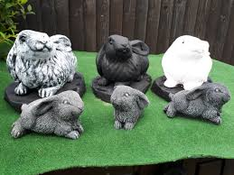 rabbit family concrete garden ornaments
