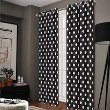 Amazon Com Black And White Polyester Kids Room Curtain For Balcony Curtain Classical Pattern Of White Polka Dots On Black Traditional Vintage Design Onyx White 54 W X 84 L Kitchen Dining
