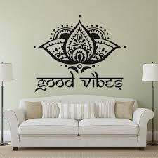 Lotus Flower Design Wall Decals Yogo Studio Decor Good Vibes Vinyl Wall Sticker Boho Decor For Home Lotus Flowers Mural Az110 Aliexpress Com Imall Com