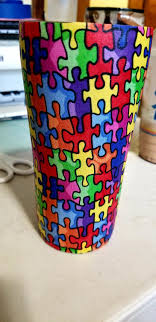Excited To Share The Latest Addition To My Etsy Shop Autism Awareness Fabric Custom Tumbler Personalized Auti Tumbler Designs Fabric Glitter Custom Tumblers