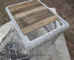 glass tabletop with a rustic wood tray