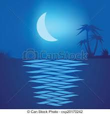 Playa tropical por la noche con una luna reflejada en el agua.