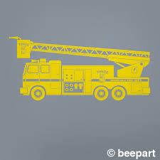 Yellow Fire Truck Wall Decal Fire Truck Art Custom Fire Truck Decal Kid S Room Decor Firetruck Nursery Decor Boy S Room
