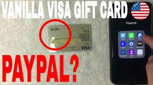 vanilla visa gift card on paypal
