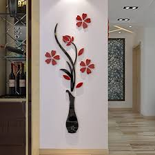 Amazon Com 3d Vase Wall Murals For Living Room Bedroom Sofa Backdrop Tv Wall Background Originality Stickers Gift Diy Wall Decal Wall Decor Wall Decorations Red 47 X 18 Inches Home Kitchen