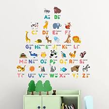 Amazon Com Decowall Dw 1614 Colourful Animal Alphabet Abc Kids Wall Stickers Wall Decals Peel And Stick Removable Wall Stickers For Kids Nursery Bedroom Living Room Decor Kitchen Dining