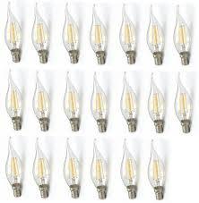 Giảm 36 %】 Bộ 20 bóng đèn Led nến giả dây tóc Edision 4 đường Led - 4W đuôi  E14 (Ánh sáng vàng)