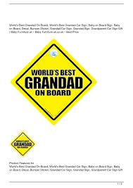 Calameo World S Best Grandad On Board World S Best Grandad Car Sign Baby On Board Sign Baby On Board Decal Bumper Sticker Grandad Car Sign Grandad Sign Grandparent Car Sign Gift Big