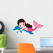 Little Mermaid With Dolphin Wall Decal Wallmonkeys Com
