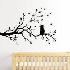 Cat In The Tree Wall Art Mural Cute Removable Peel And Stick Pvc Wall Nordicwallart Com