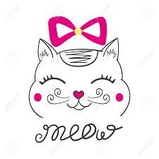 Impresion De Gato De La Sonrisa Con El Vector Rosado Del Arco