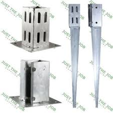 Galvanised Fence Post Spikes Bolt Down Shoes Holders 50 75 100mm Hdg Garden Ebay