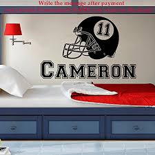 Name Wall Decal Boy American Football Helmet Vinyl Decal Stickers Kids Teens Boys Room Sports Decor Wall Decal Nursery Kids Playroom X275 Baby B01gowux2w