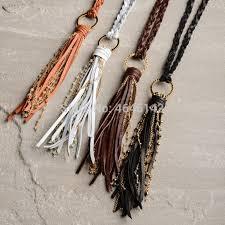 braid leather tassel necklace long boho