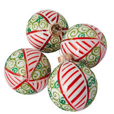 krebs 4 x 67mm white glass baubles with