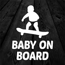 Amazon Com Celycasy Baby On Skateboard Child Safety Vinyl Decal Skate Baby Car Decal Baby Skating Decal Baby On Board Car Sticker 169 Kitchen Dining