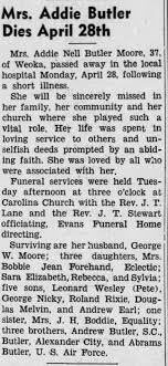 Obituary for Addie Nell Butler Butler (Aged 37) - Newspapers.com