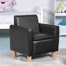 Shop Gymax Single Kids Sofa Armrest Chair Wood Construction W Storage Box Living Room Black Overstock 22833858