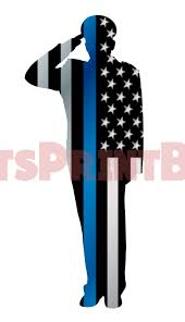 Police Officer Salute Thin Blue Line Background Image Large Wall Decal Let S Print Big