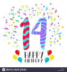 Feliz Cumpleanos Numero 14 Tarjeta De Felicitacion Para 14 Anos