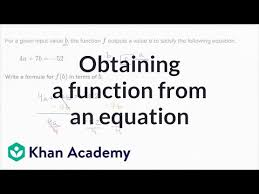 obtaining a function from an equation