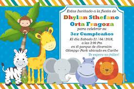 Tarjeta Dig Invitacion Safari Cumpleanos Regalo Bs 500 00 En