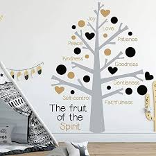 Amazon Com Byron Hoyle Fruit Of The Spirit Vinyl Wall Decal Sticker Tree Fruit Of The Spirit Nursery Decorations Blossom Words Wall Decal 8103t Home Kitchen