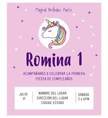 Invitacion Unicornio Estrellas Para Cumpleanos Disenos Digitales