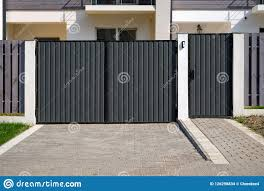 New Metal Gates And A Fence In Front Of The House Stock Photo Image Of Entrance Design 126298834