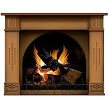 Amazon Com Lepni Me Wall Stickers Fireplace With Burning Log Fire Holiday Wall Decal Decoration Firewoods Flames Photorealistic Art Poster Medium Brown Home Kitchen