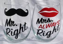 stemless wine glass set mr right and