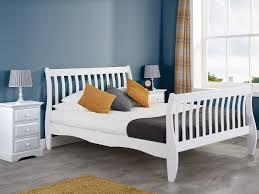 belford white wooden sleigh bed