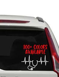 Doctor Nurse Heartbeat Car Decal Heart Beat Decal Heart Etsy Car Decals In A Heartbeat Custom Window Decals