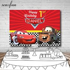 Photography Backdrop Red Cartoon Movie Characters Cars Boys Happy