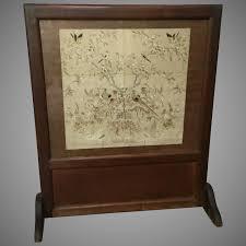 victorian fireplace screen silk