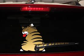 Wagging Wiper Cat Sticker Decal Cute Cat Wagging Tail Decal Etsy Funny Bumper Stickers Funny Car Decals Cat Stickers