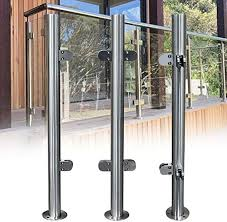 Amazon Com Nopteg 43 Glass Deck Railing System 304 Stainless Steel Railing Post Glass Clamp Post Glass Fence Panels Glass Railing Hardware Glass Deck Stair Railing System 110cm High Home Kitchen