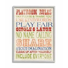 Shop The Kids Room By Stupell Playroom Rules In Four Colors Grey Framed 11 X 14 Proudly Made In Usa 11 X 14 On Sale Overstock 30334534