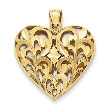 14k gold filigree heart pendant with