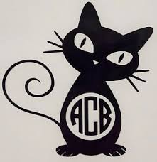 Cool Cat Initial Monogram For Cups Laptops Colors Car Window Vinyl Decal Sticker Ebay