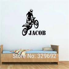 Personalised Any Name Motorbike Motocross Wall Art Wall Decal Vinyl Kids Boys Wall Sticker Paper Home Decor Tx 421 Home Decor Motocross Wall Artname Wall Decals Aliexpress