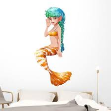 Mermaid With Stripe Colored Tail Wall Decal Wallmonkeys Com
