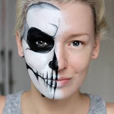 tutorial simple half skull glam make