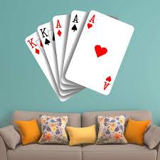 Vwaq Poker Playing Cards Wall Decal Casino Gambling Sticker Decor
