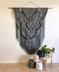 grey macrame as large textile wall art